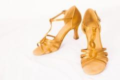 Złoci tanów buty Fotografia Royalty Free