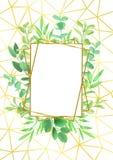 Złocista Geometryczna rama i Greenery Obrazy Royalty Free