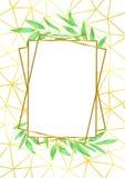 Złocista Geometryczna rama i Greenery Fotografia Royalty Free