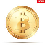 Złocista moneta z bitcoin znakiem Obrazy Royalty Free