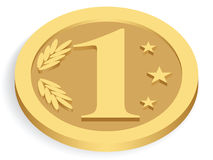 złocista monetarna jednostka Fotografia Stock