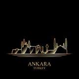 Złocista sylwetka Ankara na czarnym tle Zdjęcie Stock