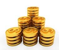 Złociste dolar monety Zdjęcia Royalty Free
