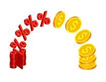 Złociste monety i procentów znaki Obraz Royalty Free