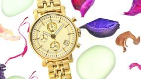 złocistego zegarka kobieta Zdjęcie Stock