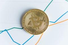 Złocistej bitcoin cryptocurrency monety odgórny widok na kreskowego wykresu handlu Obraz Royalty Free