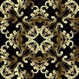 Złocisty 3d Barokowy wektorowy bezszwowy wzór Antykwarski ornamentacyjny Flor obrazy royalty free