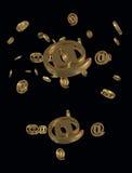 Złocisty E-mailowy symbol Fotografia Royalty Free