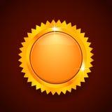 Złocisty guzik lub logo Zdjęcia Royalty Free