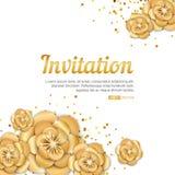 Złocisty lotosowego kwiatu zaproszenie Zdjęcie Stock