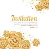 Złocisty lotosowego kwiatu zaproszenie Obrazy Stock