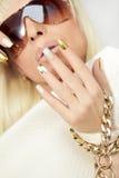 Złocisty manicure Zdjęcia Royalty Free
