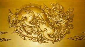 Złocisty sztukateryjny Tajlandzki styl Obraz Stock