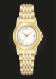 Złocisty zegarek na czarnym tle Zdjęcia Stock