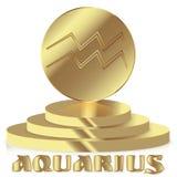 Złocisty zodiaka znak Aquarius - Astrologiczny i horoskop symbol o Fotografia Stock