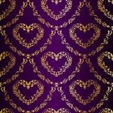 złocistych serc deseniowy purpurowy sari bezszwowy Obrazy Stock