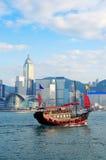Z łodziami Hong Kong linia horyzontu Fotografia Royalty Free
