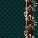 Z ornamentem elegancki ciemnozielony Rokokowy tło Fotografia Royalty Free