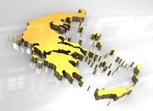 złota 3d mapa Greece Fotografia Royalty Free