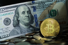 Złota Bitcoin moneta Obraz Stock