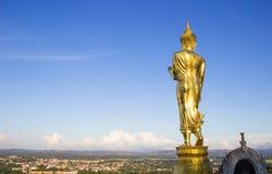 Złota Buddha statua, Wat Phra Który Khao Noi, Nan prowincja, Tha Zdjęcie Stock