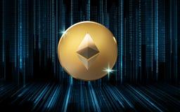 Złota eter moneta nad binarnym kodem na czerni Obraz Royalty Free