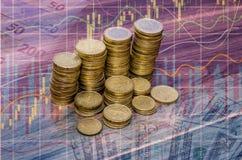Złota euro monet sterta Na Drewnianym stole Obrazy Royalty Free