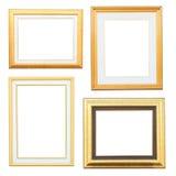 Złota i drewna ramowa kolekcja Zdjęcia Stock