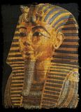 Złota maska Tut ankh na papirusowy antycznym Obraz Royalty Free
