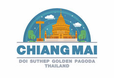 Złota pagoda Chiang mai, Tajlandia loga symbol (DOI SUTHEP) Fotografia Royalty Free
