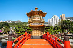 Złota pagoda w Nan Liana ogródzie, Diamentowy wzgórze, Hong Kong Obrazy Stock