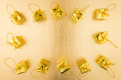 Złota prezent rama Fotografia Stock