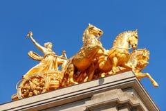 Złota statua na Cascada fontannie w Barcelona Zdjęcie Royalty Free