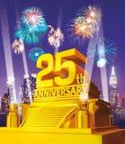 Złota 25th rocznica przeciw miasto linii horyzontu Zdjęcie Stock