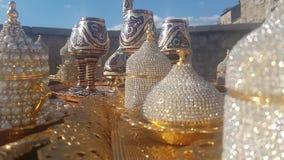 złota ustalona herbata Zdjęcia Royalty Free