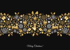 Złota Xmas drzewna dekoracja na czarnym tle Zdjęcia Stock