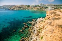 Złota zatoka, Malta Zdjęcia Stock