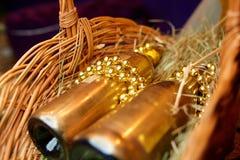 Złote butelki szampan Zdjęcie Royalty Free