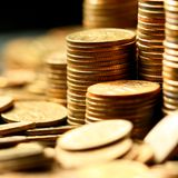 złote monety fotografia royalty free