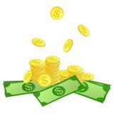 Złote monety i dolary symboli/lów Zdjęcia Stock