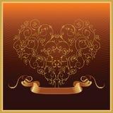 złote serce tasiemkowy walentynki Obraz Royalty Free