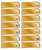 Złotego guzika kolekcja z kolorowymi glansowanymi sferami Obrazy Stock