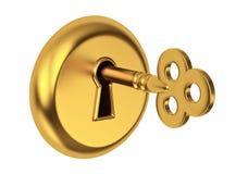 złotego klucza keyhole Fotografia Royalty Free