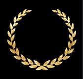 Złotego laurowego wianku wektorowa ilustracja na czarnym tle Zdjęcia Royalty Free