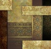 Złotego rocznika kwiecisty projekt na ciemnym tle ilustracja wektor