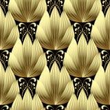 Złoto 3d kwitnie wektorowego bezszwowego wzór Zdjęcia Stock