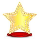 Złoto gwiazda na podium Zdjęcie Stock