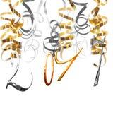 Złoto i srebro 2017 liczb wiesza na serpentynach Zdjęcia Stock
