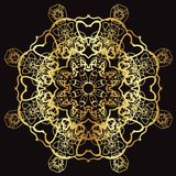 Złoto koronki wzór na czarnym tle Zdjęcia Royalty Free