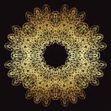 Złoto koronki wzór na czarnym tle Obrazy Royalty Free